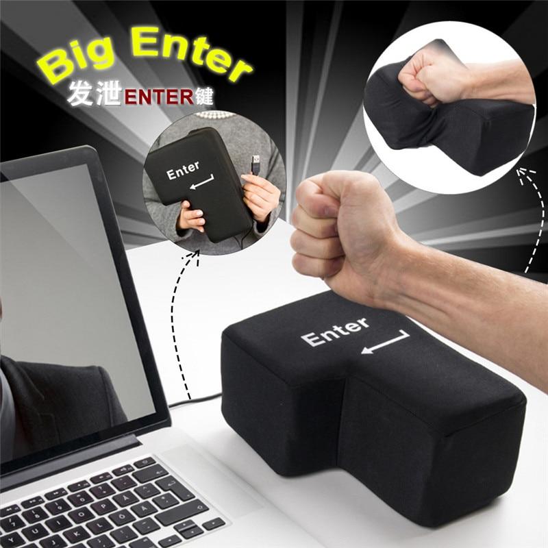 Black Big Enter Key USB Pillow Anti-stress Relief Super Size Enter Key Unbreakable Cushion Release Pressure Cushion Enter Key