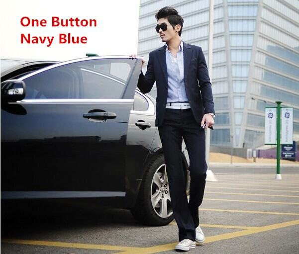 one button navy blue