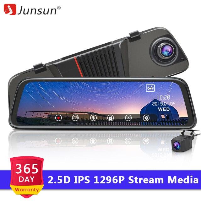 """Junsun H16 новые технологии 2.5D Full HD 1296 P поток медиа-зеркало заднего вида видеорегистратор с двумя объективами тире Камера 10 """"ips Ночное видение Парковка монитор"""