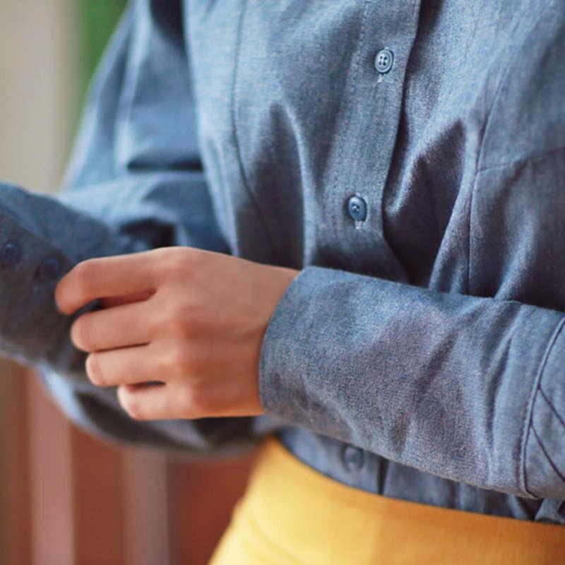blue Lantern Sleeve fall blouse 6