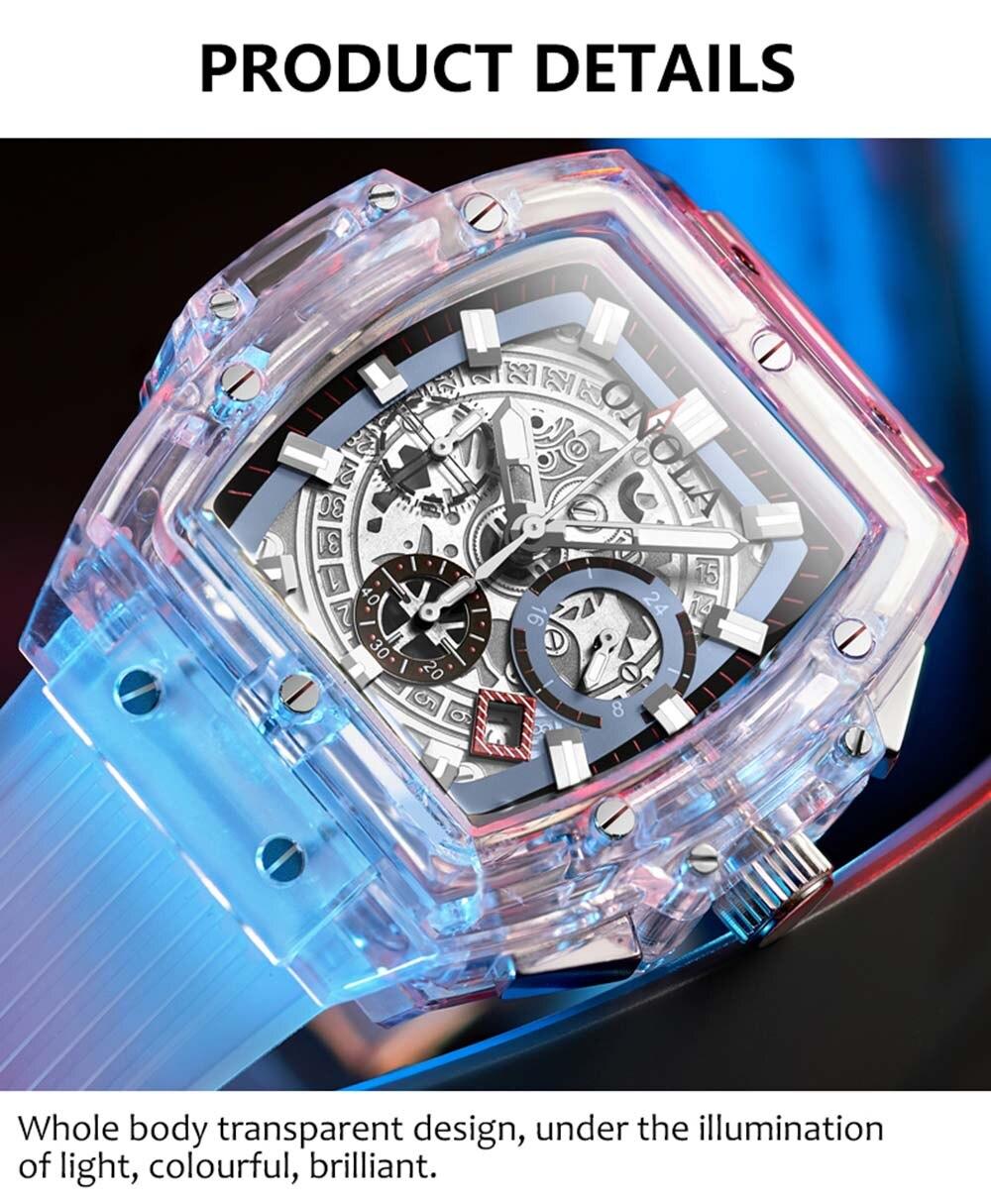 HTB1zFKjXpT7gK0jSZFpq6yTkpXac luxury mens wristwatches Transparent quartz waterproof Multifunction man watches square white fashion clocks