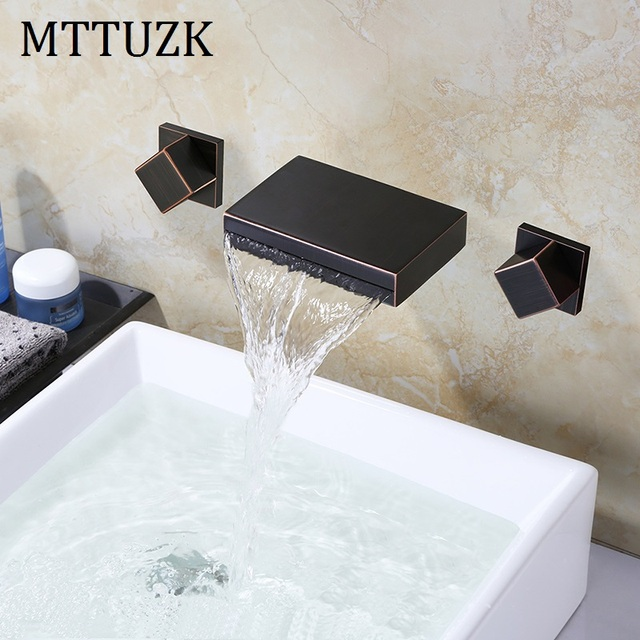 mttuzk bathtub faucet waterfall spout tub bath mixer tap oil rubbed