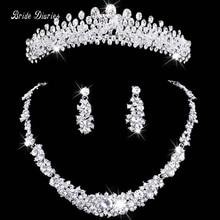Collar y aretes de joyería nupcial de la tiara Tiara de La Corona Del Rhinestone Accesorios de La Boda Nupcial joyas de cristal