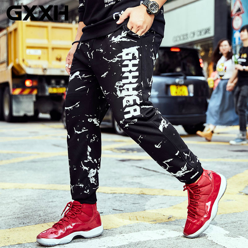 GXXH 2018 New Tide Brand Big Size Men's Trousers Fat Guy Male Loose Casual Print Trousers Mens Joggers Oversize Streetwear Pants
