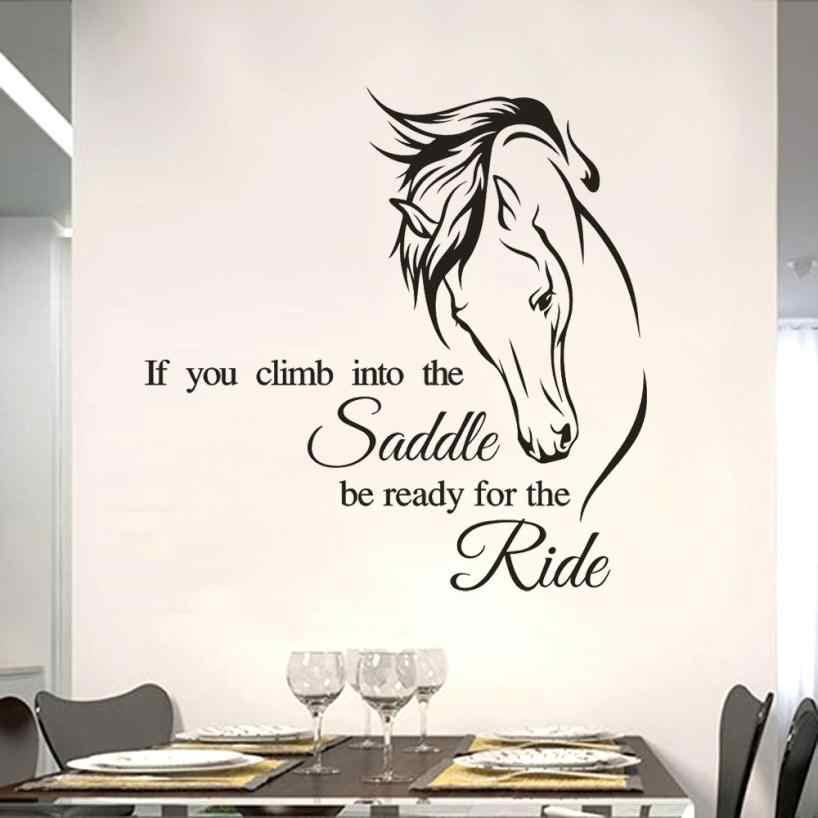 1 قطعة DIY بها بنفسك ركوب الخيل الجدار ملصق مائي اقتباس الفينيل الفن إذا كنت تسلق في السرج تكون جاهزة لركوب الحصان ديكور الجدار ملصق