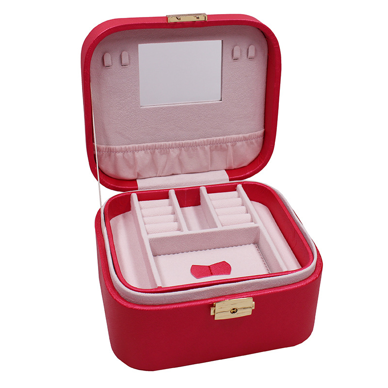 European PU Crocodile Ladies Jewel Carrying Box Leather Two Layers Case Portable Jewel Displayer Ring Necklace Ring Jewelry Case jewel box