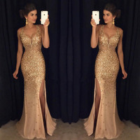 Long Evening Dresses 2018 Mermaid V Neck Luxury Crystals Beaded Sexy Backless Champagne African Women Formal Prom Evening Gowns