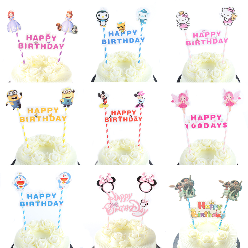 1set Mickey Minnie Mouse Theme Happy Birthday Cupcake Topper Flags Baby Shower Kids Birthday Party Cake Decoration