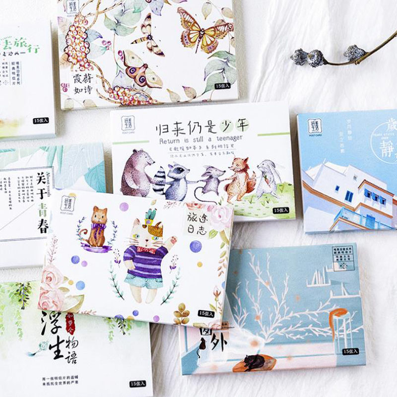 15Pcs/Pack Cute Bless Postcards Travel Design