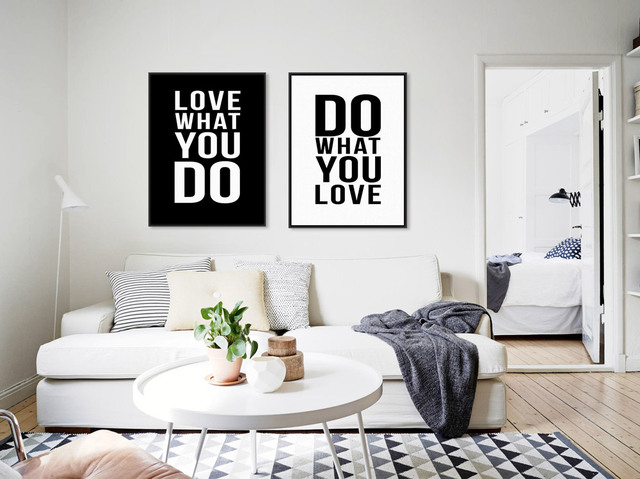 Modern Minimalist Black White Motivational Love Quotes Canvas Art Print Poster Wall Pictures Living Room Decor