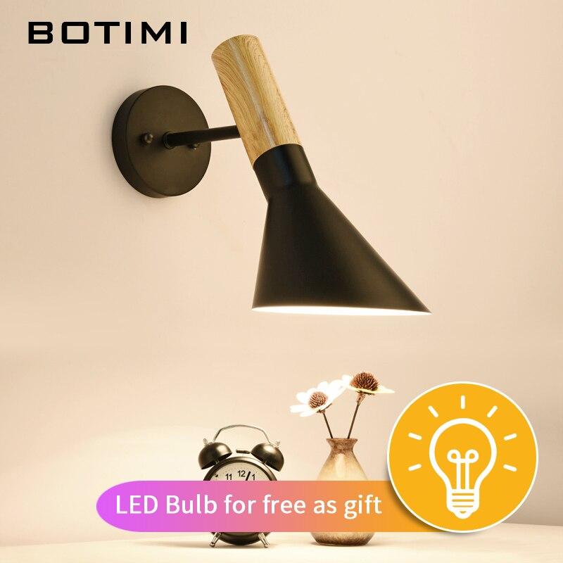 Billige Kaufen Botimi Neue Design Einstellbare Wand Lampe Holz