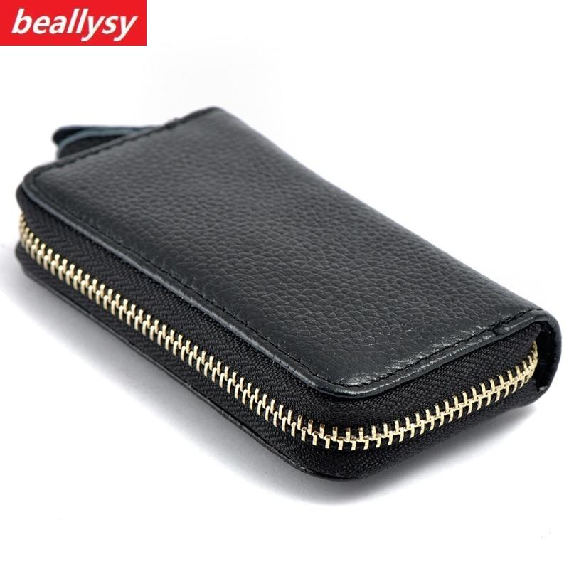 2018 Key Holder Wallet Genuine Leather Unisex Solid Key Wallet Key Organizer Bag Car Housekeeper Wallet Key Holder