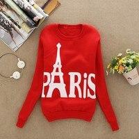 Scolour Women Blusas 2016 Casual Long Sleeve Tops Paris Printed Pullover Hoodies Couples Lovers Sweatshirt Free
