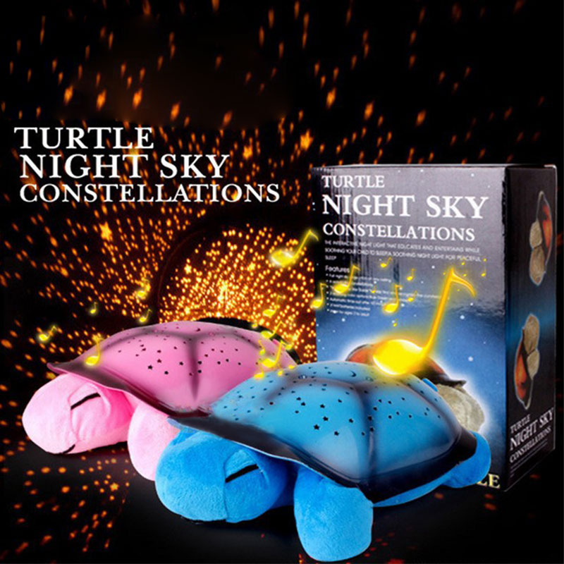 Turtle LED Night Light Soothing Calming Baby Starry Sky Music Star Lamp Atmosphere Projector Toys for Baby Sleep