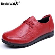BeckyWalk Plus Size 35-43 Autumn Women Shoes Genuine Leather Flats Shoes Woman Lace-Up Moccasins Comfortable Mother Shoe WSH2949