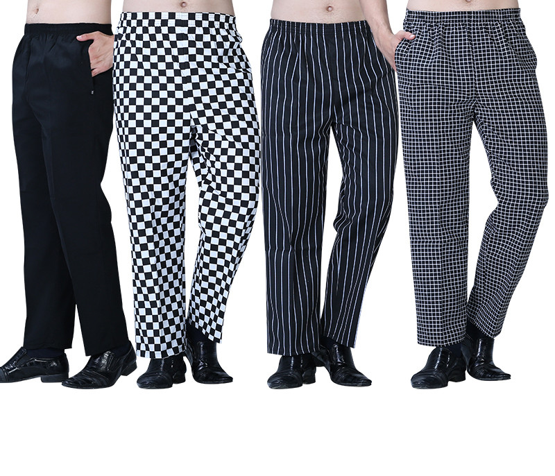 Free Shipping 2017 Fashion Cook Pants Hot Sale Work Wear Checkedout Brand Chef Pants Cheapest Chef Trousers Uniforms Men