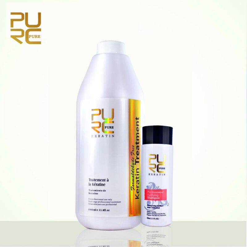 PURC meilleur produit de défrisage brésilien kératine formaldéhyde libre et 100 ml purification shampooing de réparation et redresser