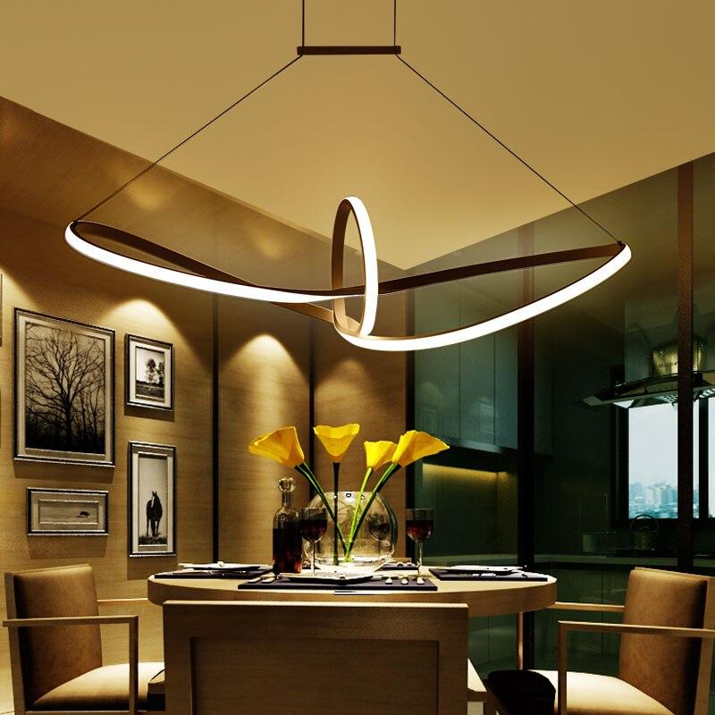 Бесплатная доставка дистанционного затемняя современный светодио дный подвесной светильник алюминий 90-265 В Подвесная лампа для столовой к...