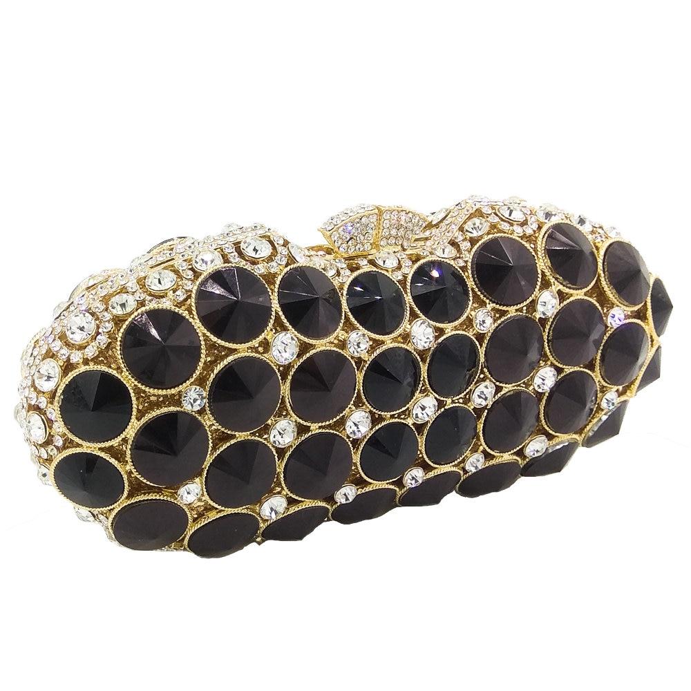 부티크 드 fgg 우아한 블랙 제트 다이아몬드 저녁 클러치 가방 여성 패션 웨딩 파티 핸드백 지갑 신부 크리스탈 클러치-에서탑 핸드백부터 수화물 & 가방 의  그룹 3