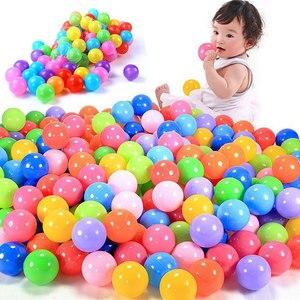 Image 1 - 100 قطعة/الوحدة صديقة للبيئة الملونة الكرة لينة البلاستيك المحيط الكرة مضحك طفل طفل السباحة حفرة لعبة المياه بركة المحيط موجة الكرة ضياء 5.5 سنتيمتر