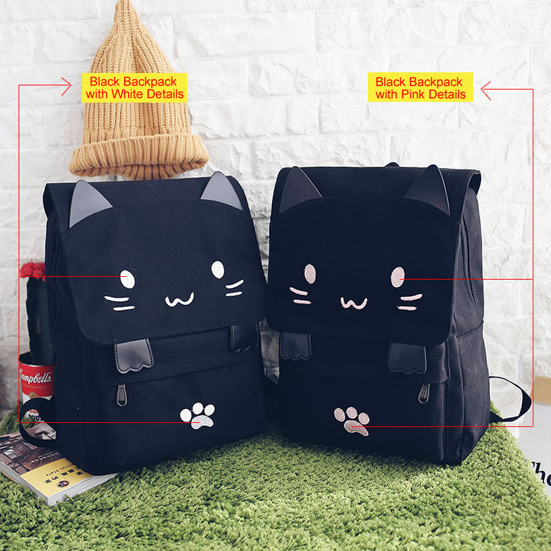 Cute Cat Canvas Backpack Cartoon Embroidery Backpacks For Teenage Girls School Bag Fashio Black Printing Rucksack Mochilas Xa69h #2