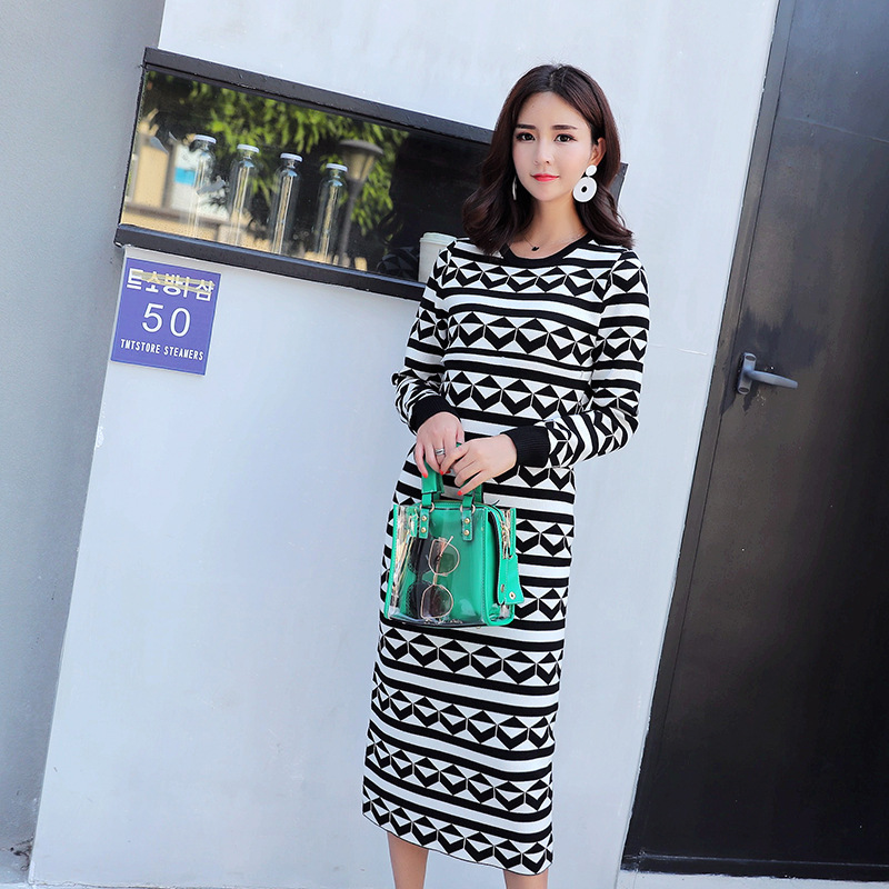 все цены на Maternity Dress Autumn And Winter Korean Lactation Sweater Self-cultivation Long Geometry Pattern Long Go Out Lactation Dress