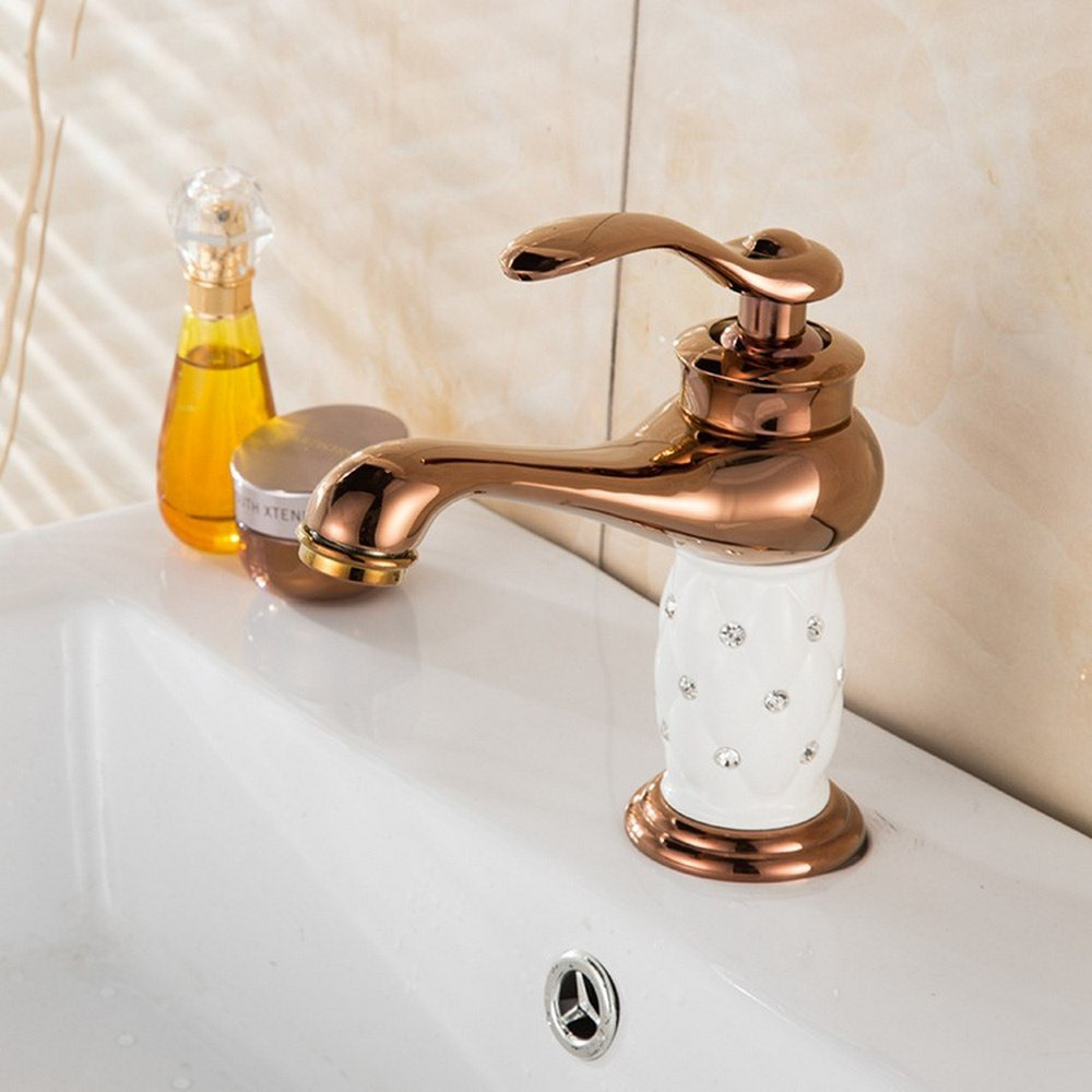 Basin Faucets Tap Brass with Diamond Bathroom Faucet Gold Mixer Tap Single Handle Hot Cold Washbasin Tap torneiras banheiro in Basin Faucets from Home Improvement