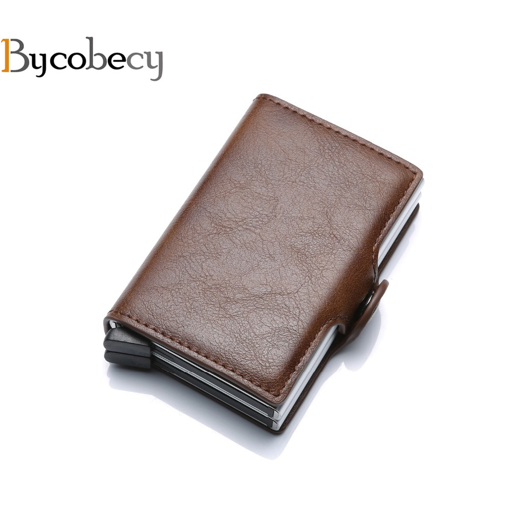 Bycobecy 2018 Card Holder Wallet RFID Blocking Double Metal Box Credit Card Wallet Purse Aluminium Leather Business Card Case леггинсы очаровательная адель очаровательная адель mp002xw196es