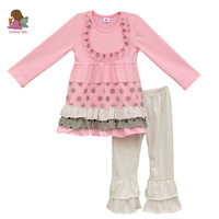 Pink Girls Clothes Sets Cotton Round Neck Long Sleeve Dress Polka Dots Pants Kids Ruffle Outfits Fashion Children Clothing F005