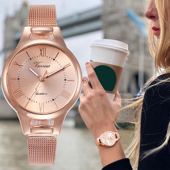 vansvar Casual Quartz Stainless Steel Band New Strap Watch Analog Wrist Watch Simple Watches Rhinestones Dress Woman Watch Rose