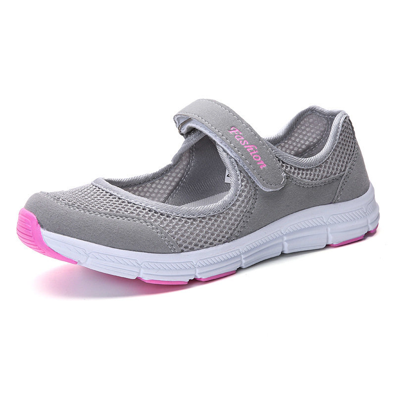 A Generation Of Breathable Old Women's Shoes Anti-skid Walking Mother's Shoes Flat Sole Hollow Mesh Soft Sole Shoes Size 35-42