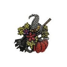 1 шт изготовленные на заказ Стразы Серебряное покрытие Хэллоуин черная шляпа и оранжевая тыква метла брошь подарок на Хэллоуин