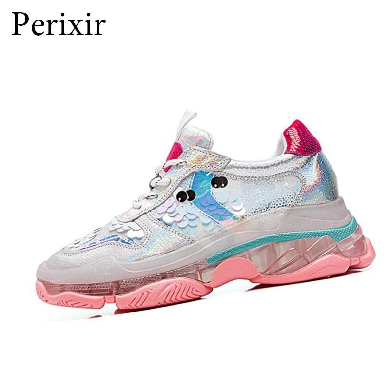 Perixir femmes paillettes plate-forme baskets qualité Femme paillettes Bling chaussures Basket Femme 2019 nouvelle mode femmes Chunky chaussures