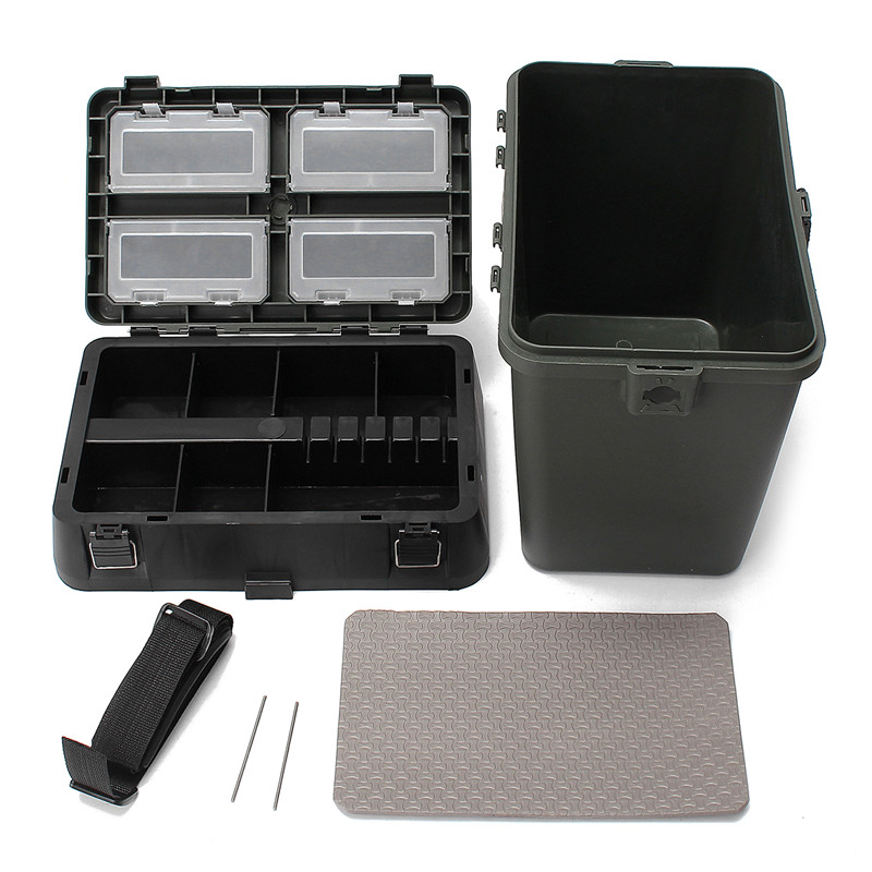 Large Capacity Fishing Tackle Box Storage Case 380x230x390mm Seat Box With Strap Fishing Lures Takcle Tool Accessories