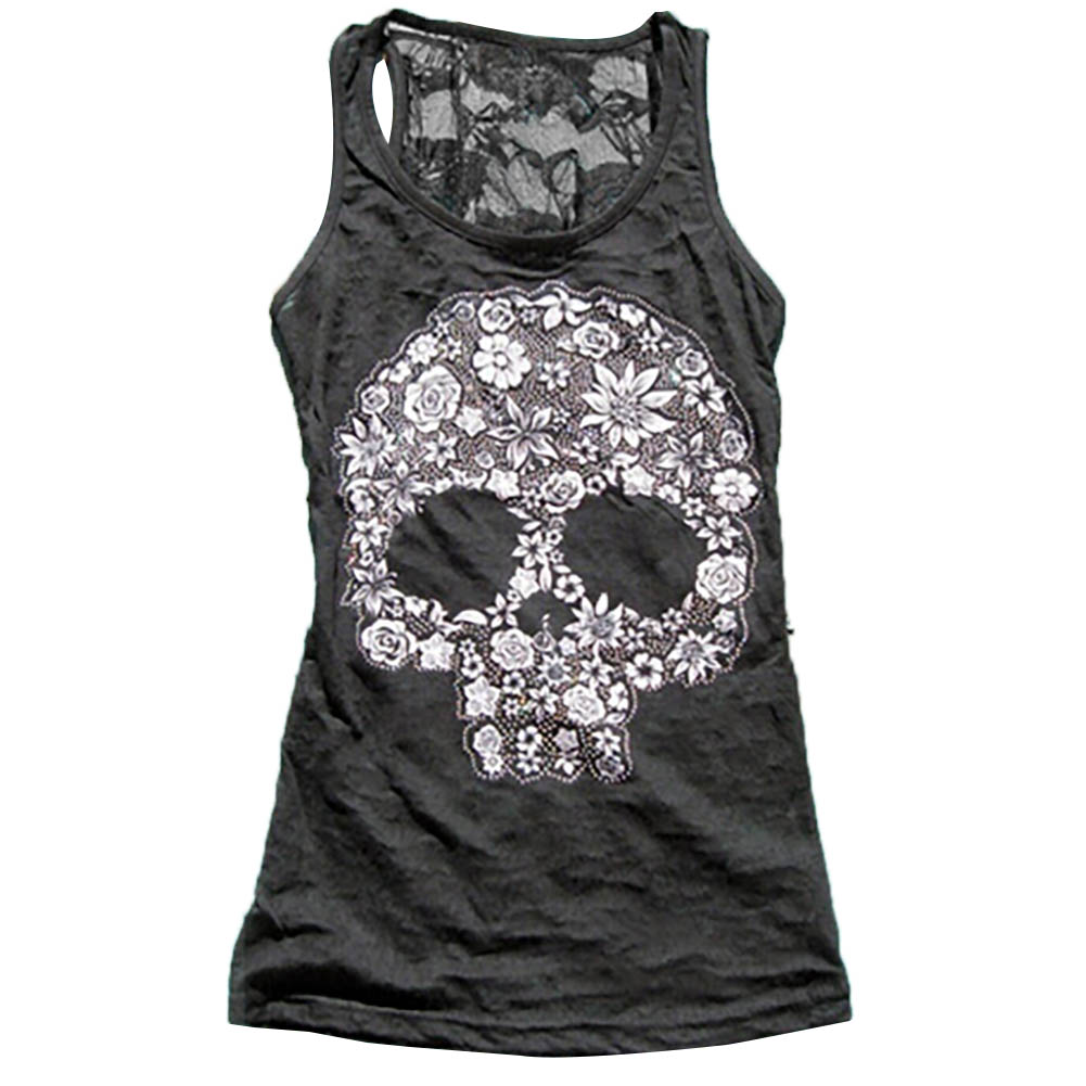 Tank In Sheath Printing Stretch Clothingamp; Lace Women's Skull From Slim Tops Women Casual Patchwork Vest Summer Sexy Back WHDIE29