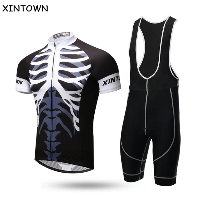XINTOWN skeleton Sports Clothing Cycling Jersey Maillot Roupa De Ciclismo  Bike Bicycle Cycle Short Sleeve Jersey bib Shorts Kit 1fd7b88a8