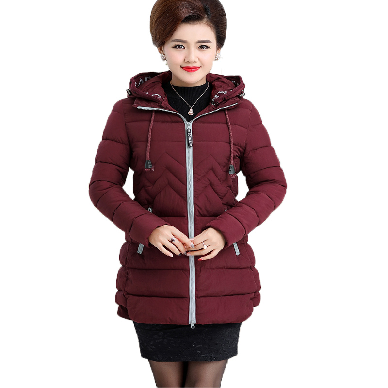 New 2017 Women Medium Long Padded Jacket Winter Causal Solid Slim Thick Parkas Long Sleeve Hooded Plus Size Coat Casaco Feminino michael kors new women s size medium m solid brown raglan peasant blouse $49