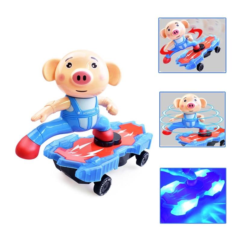 Dynamisch Neue Kinder Elektrische Stunt Scooter Cartoon Tier Schwein Universal Rotierenden Musik Licht Spielzeug Für Kinder Geburtstag Präsentieren Seien Sie Freundlich Im Gebrauch
