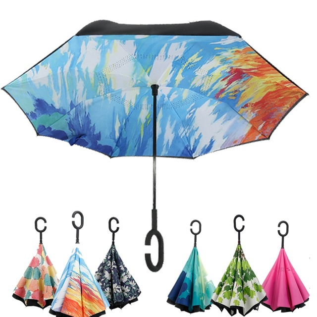 e81986e234 Multiple colour folding Reverse Umbrella Double Layer Inverted Windproof  Rain Car Umbrellas For Women Car accessories-in Umbrellas from Home &  Garden ...