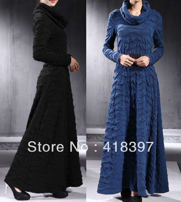 floor length dresses with turtle nevk