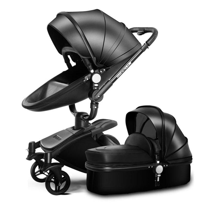 AULON Oyun Longue bébé chariot corticale bi-directionnel haute-vue amortisseur bébé transport peut s'asseoir dans le panier