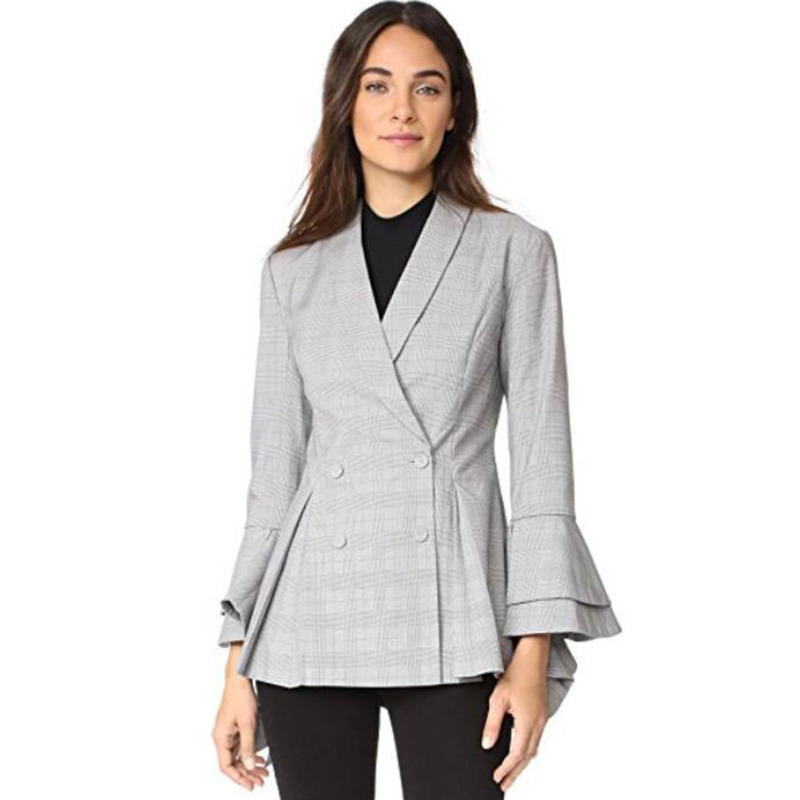 Women Plaid Blazer Flare Sleeve Pleated Split Hem With Double Button Butt Suit Work Wear Office Ladies Blazers Female Okd159
