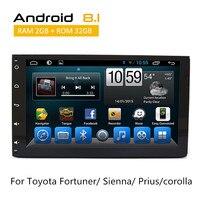 2 Din Автомобильная магнитола на андроид для Toyota Fortuner 2016/Sienna 2015/Prius/corolla 2018 gps Мультимедиа Радио с AUX Bluetooth