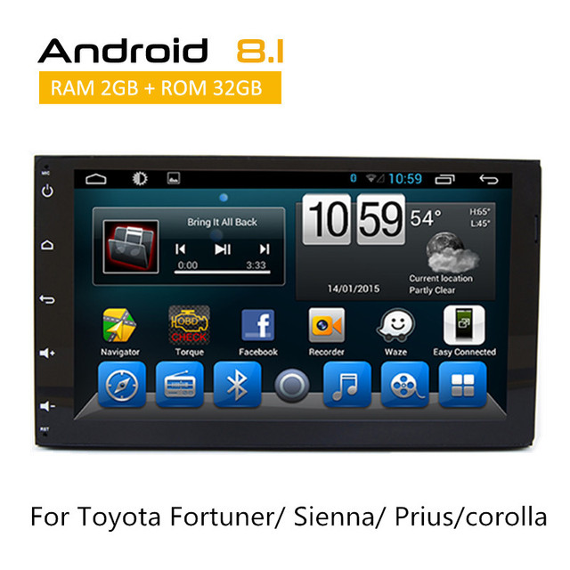 2 Din Android Voiture Stéréo Pour Toyota Fortuner 2016/Sienna 2015/Prius/corolla 2018 GPS Multimédia Radio avec AUX Bluetooth