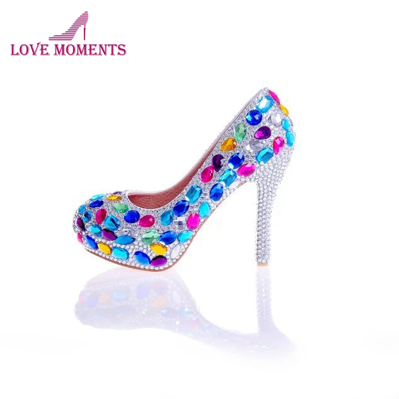 Multicolor Blue Red Crystal Wedding Shoes Women Cinderella Prom Shoes with Silver Rhinestone Heel Bride Wedding Party Pumps цена