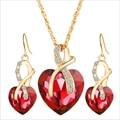 Sistemas de la Joyería de moda Para Las Mujeres de Corazón de Cristal Austriaco Collar Colgante de Joyería de Los Pendientes Chapados En Oro de Novia Accesorios de La Boda