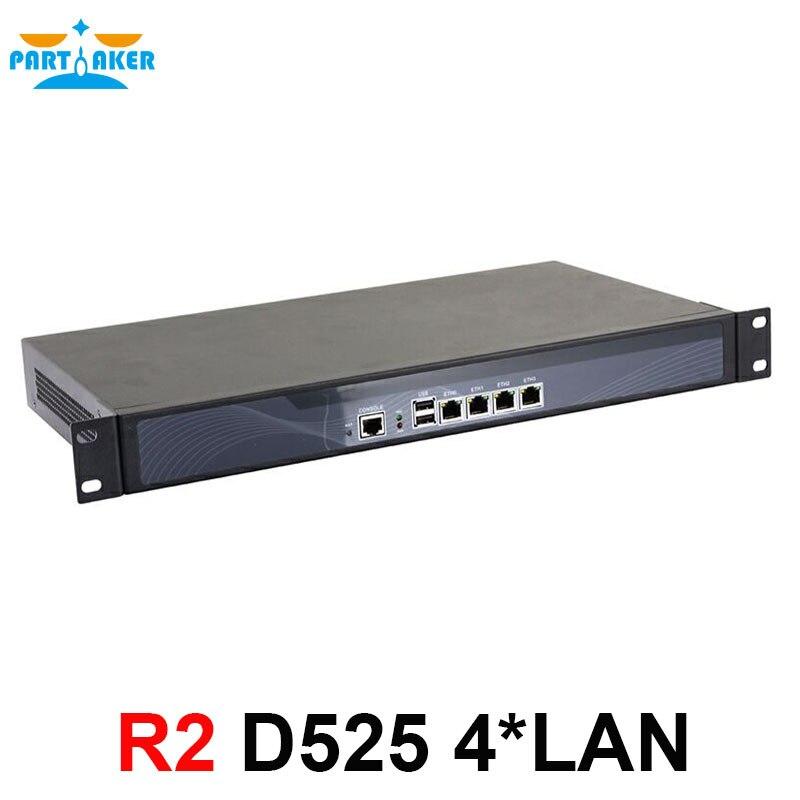 1U Firewall Appliance D525 Dual Core 4 Threads 1 8Ghz with PCI E 1000M 4 82583v