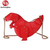 INS Female Dinosaur Shoulder Bag Rivet Wild Messenger Bag Chain Crossbody Bags for Women Purses Evening Clutch Bags