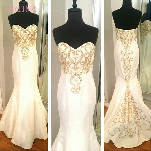 Britnry New Arrival Sweetheart Mermaid Wedding Dresses Embroidery