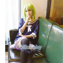 Anime Vocaloid GUMI Cosplay Costume Full Set Leisure Women's COS Sailor Suit Dress+Bow Tie+ Stockings S-XL Free Shipping NEW